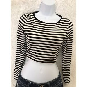 Forever 21 Striped Crop Top With Elbow Cut Outs